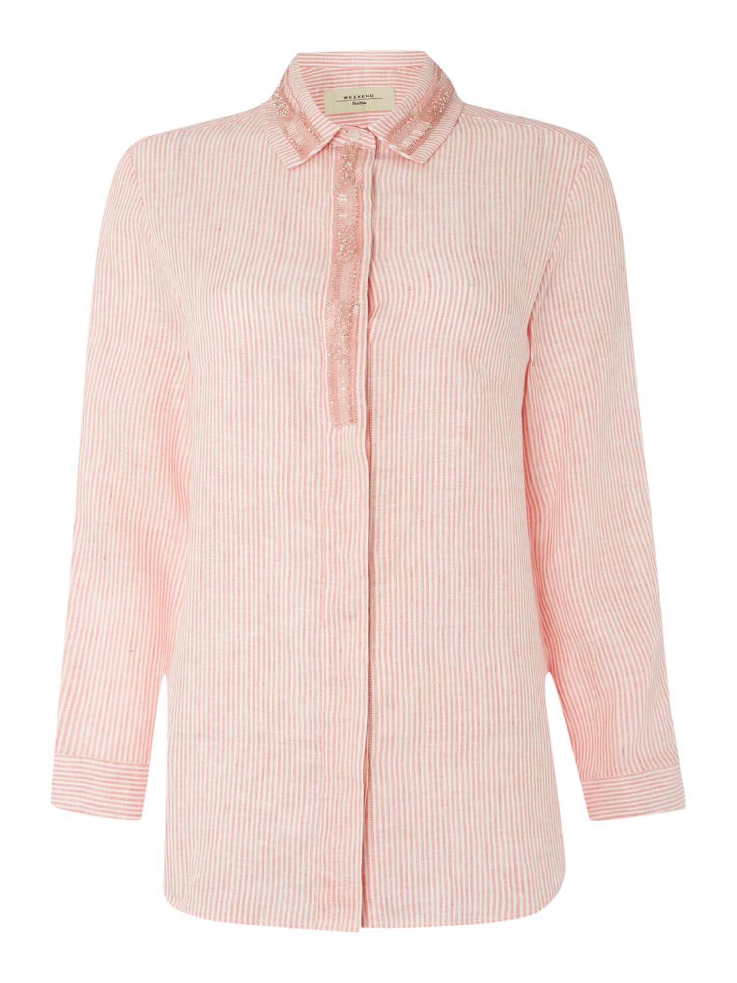 Max Mara Studio Vanadio short sleeve tie waist silk jacket, Pink