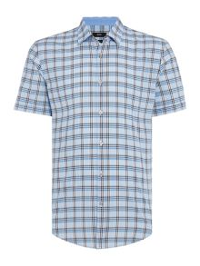 Hugo Boss Ronn Slim Fit Poplin Check Short Sleeve Shirt