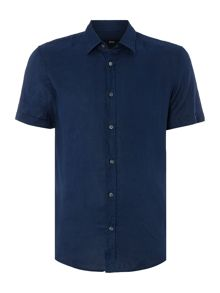 Hugo Boss Ronn Slim Fit Linen Short Sleeve Shirt