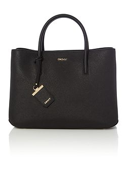 Saffiano black large city tote bag