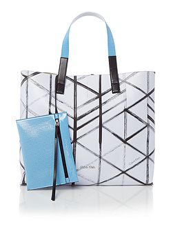 Flow city grid multi reversible tote bag