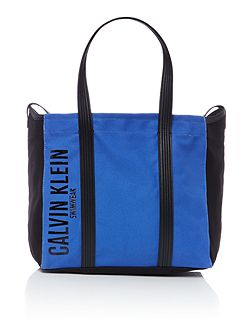 Melaine blue and black tote bag