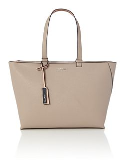 Sofie neural and light pink large tote bag