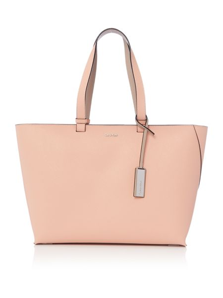Calvin Klein Sofie light pink and neutral large tote bag