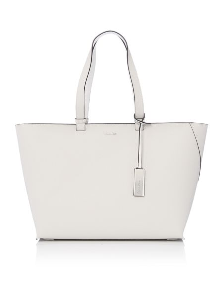 Calvin Klein Sofie grey and white large tote bag