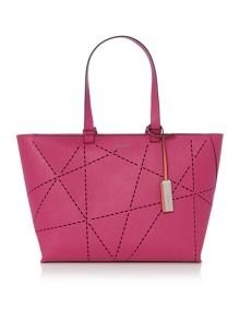 Sofie purple perforated large tote bag