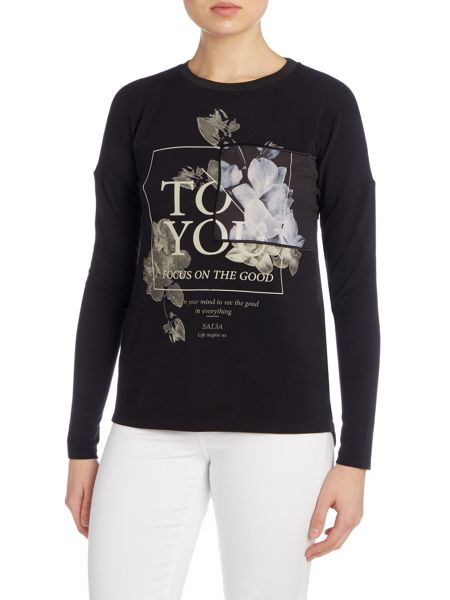 Salsa Long sleeve round neck printed top