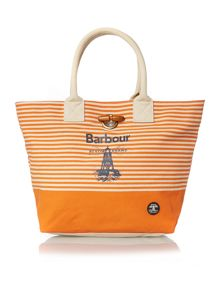 Barbour Orange stripe beach bag