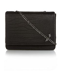 Mary read black croc large fold-over cross body