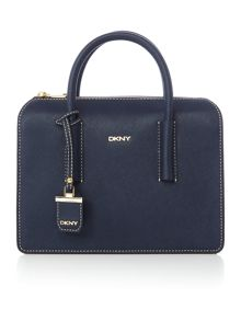 Saffiano navy satchel bag