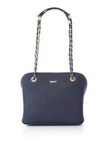 Saffiano navy medium dome bag