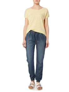 Linea Weekend Cutabout stripe linen blend tee