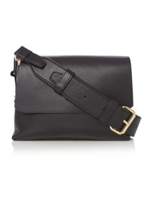 DKNY Heavy nappa black small flap over cross body bag