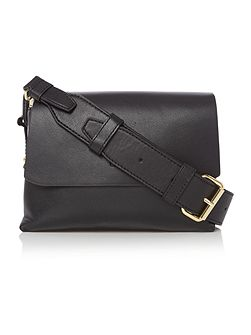 Heavy nappa black small flap over cross body