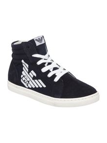 Armani Junior Boys high top with large eagle logo