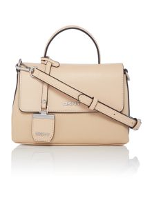 DKNY Pebble neutral mini flap over cross body bag