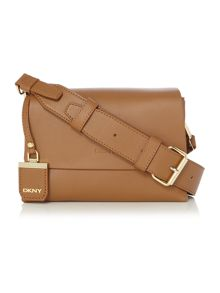 DKNY Heavy nappa tan small flap over cross body bag