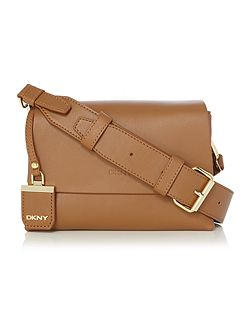 DKNY Heavy nappa tan small flap over cross
