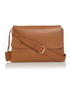 DKNY Heavy nappa tan medium flap over cross