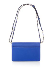 Saffiano blue small flap over cross body bag