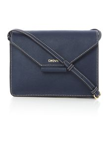 Saffiano navy flap over cross body bag