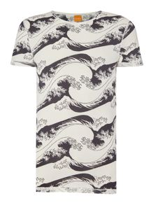 Hugo Boss Tulius 1 regular fit all over wave print t shirt
