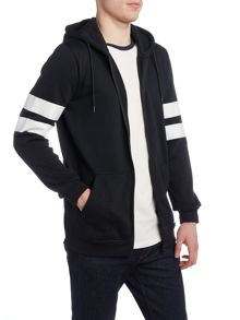 Jack & Jones Stripe Sleeve Zip-Through Hooded Sweatshirt