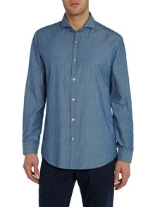 Hugo Boss Lennie Regular Fit Chambray Patterned Shirt