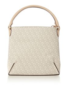 DKNY Coated logo neutral hobo bag
