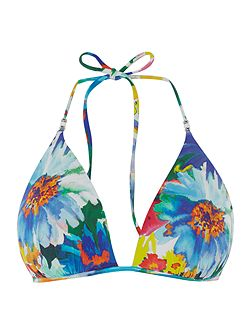 Daisy floral tall moulded triangle bikini top