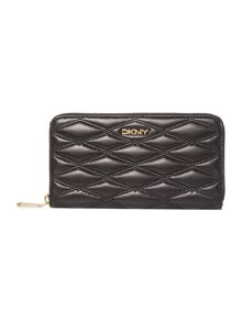DKNY Quilt black large zip around purse