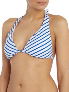 Polo Ralph Lauren Bengal stripes ring front halterneck bikini top