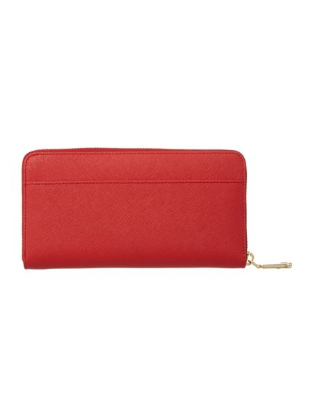 DKNY Saffiano red large zip around purse
