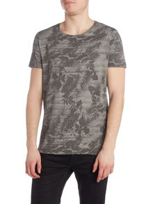 Hugo Boss Tinus regular fit tonal leaf print t shirt