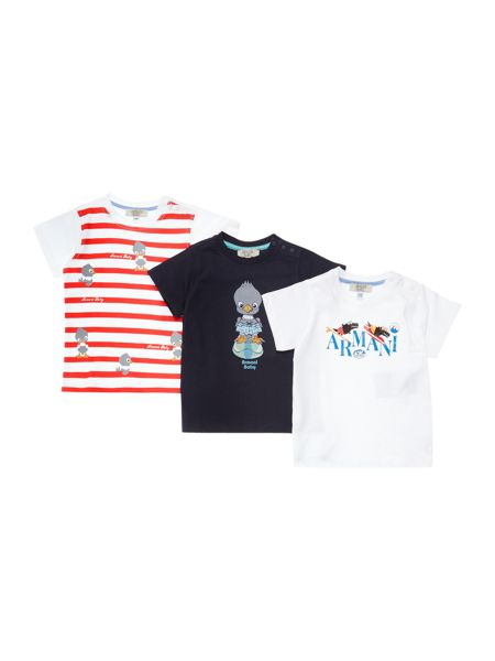 Armani Junior Boys Three Pack Logo Graphic T-shirts