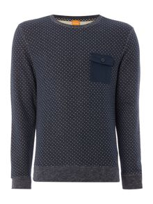 Hugo Boss Wealer crew neck dot print sweatshirt