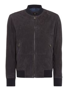 Hugo Boss Moriso Perferated Zip Up Leather Jacket