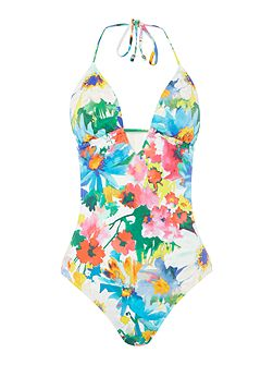Daisy floral keyhole one piece swimsuit