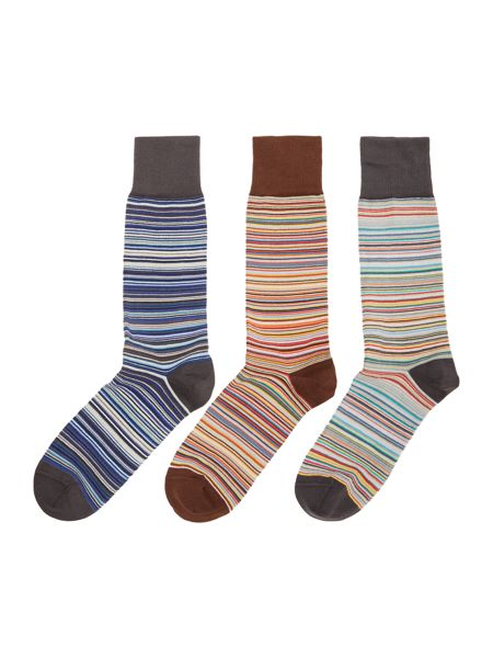 Paul Smith London 3 pack of multistripe sock