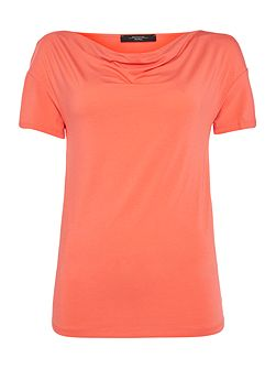 Multic short sleeve cowl neck top