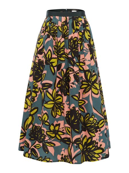 Max Mara Licenza pleated bold floral silk mix skirt