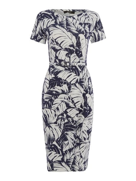 Max Mara Caneva short sleeve floral fitted dress with belt