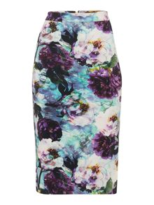 Pied a Terre Print Pencil Skirt