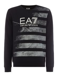 EA7 Graphic Print Crew Neck Sweatshirt