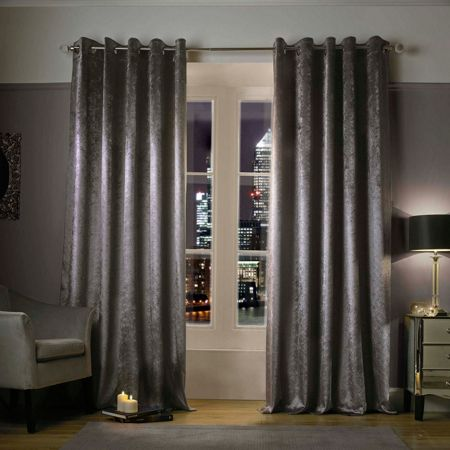 Kylie Minogue Adelphi Truffle Lined Eyelet Curtains 90x90