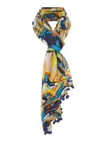 Lola Rose Tahiti twist bird pom pom trim scarf