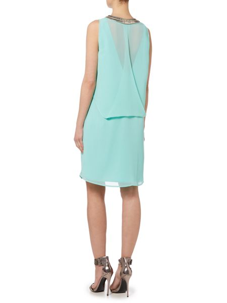 Biba Embellished front drape back dress