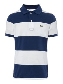 Lacoste Boys Block stripe pique polo