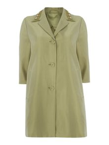 Max Mara Fify silk mix coat with embellished collar