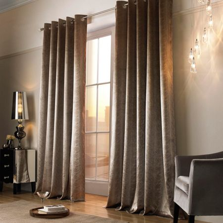 Kylie Minogue Adelphi Caramel Lined Eyelet Curtains 66x90